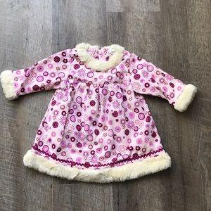 Hanna Andersson Pink Faux Fur corduroy dress